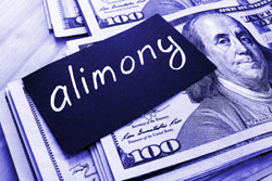 "Sign that says ""Alimony"" laying on top of 100 dollar bills"