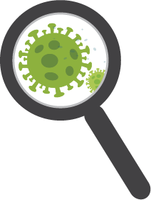 Magnifying glass looking at coronavirus
